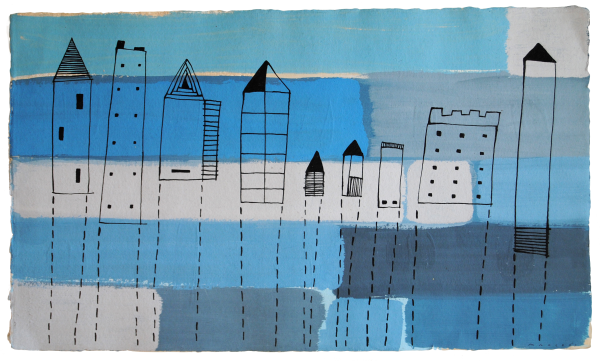 Houses in blue fog. Cases entre la boira