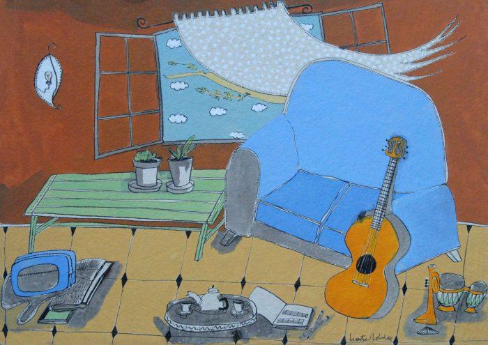 Blue sofa and guitar -Sofa blau i guitarra